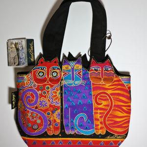 NWT Laurel Burch Feline Friends Cotton Handbag